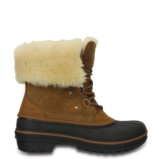 Crocs talvikengät nahkaa, Waterproof (Allcast II Luxe Boot W, Wheat 203431-209)